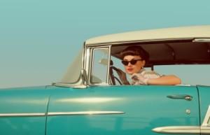Retro Lady in Antique Car