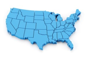 Map of USA Showing States