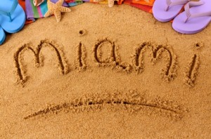 Miami Word Written in Beach Sand