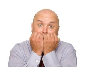 Scared Bald Man