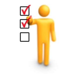 Yellow Figure with Red Checklist