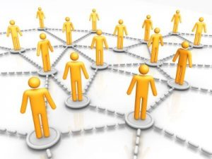 Yellow Figures Linked by Network